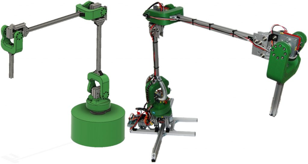The Low-Cost Robotic Arm with its design in Fusion 360 (left) and the implemented manipulator (right).