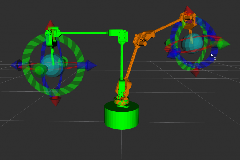 The visualisation in RVIZ with the current pose (theoretical) in green and the target pose in orange.
